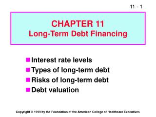 CHAPTER 11 Long-Term Debt Financing