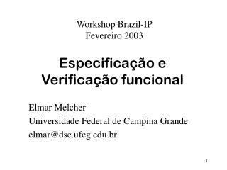Especificação e Verificação funcional