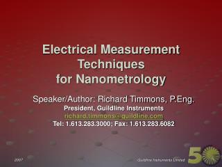 Electrical Measurement Techniques for Nanometrology