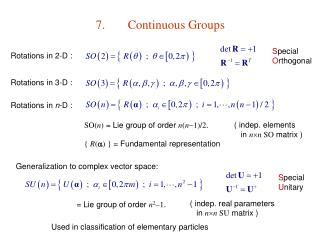 7.	Continuous Groups