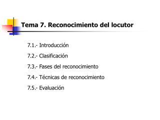Tema 7. Reconocimiento del locutor