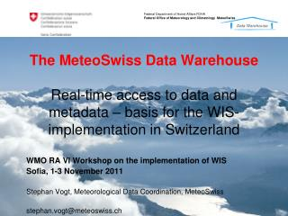 WMO RA VI Workshop on the implementation of WIS Sofia, 1-3 November 2011