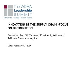 INNOVATION IN THE SUPPLY CHAIN �FOCUS ON DISTRIBUTION