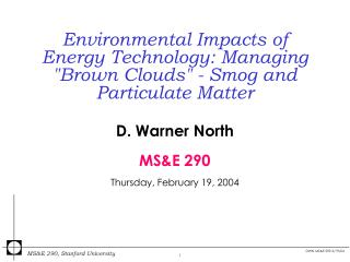 Environmental Impacts of Energy Technology: Managing