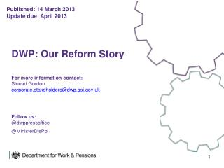 Published: 14 March 2013 Update due: April 2013