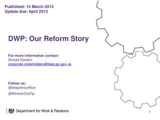 Published: 14 March 2013 Update due: April 2013