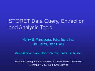STORET Data Query, Extraction and Analysis Tools