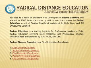 RADICAL DISTANCE EDUCATION Join Today For Better Tomorrow