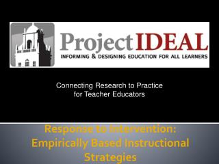 Response to Intervention: Empirically Based Instructional Strategies