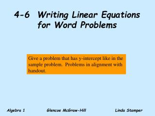 4-6  Writing Linear Equations for Word Problems