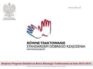 Krajowy Program Działań na Rzecz Równego Traktowania na lata 2013-2015.
