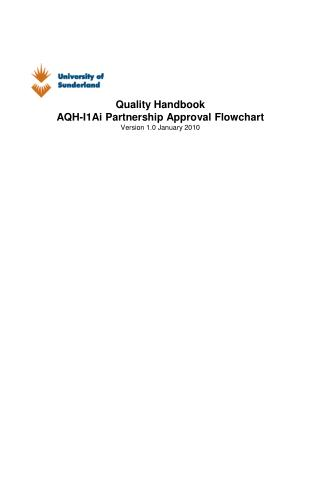 Quality Handbook AQH-I1Ai Partnership Approval Flowchart Version 1.0 January 2010