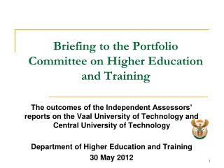 Briefing to the Portfolio Committee on Higher Education and Training