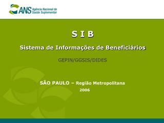 S I B Sistema de Informações de Beneficiários GEPIN/GGSIS/DIDES