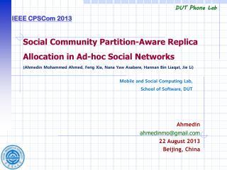 Ahmedin ahmedinmo@gmail 22 August 2013 Beijing, China