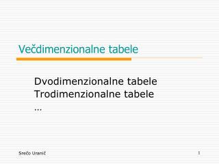 Ve?dimenzionalne tabele