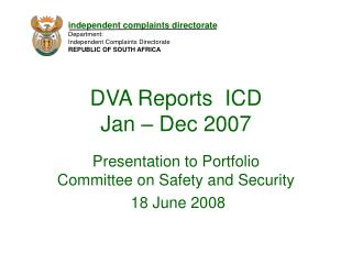 DVA Reports  ICD Jan – Dec 2007