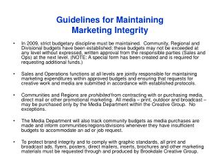 Guidelines for Maintaining  Marketing Integrity