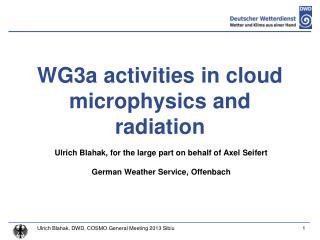 WG3a activities in cloud microphysics and radiation