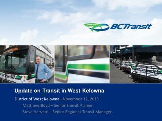 Update on Transit in West Kelowna