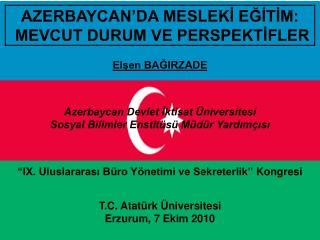 AZERBAYCAN'DA MESLEK İ EĞİTİM:  MEVCUT DURUM VE PERSPEKTİFLER