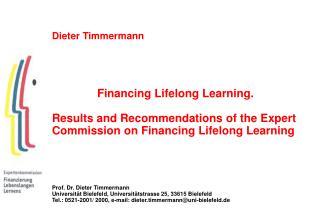 Dieter Timmermann Financing Lifelong Learning.
