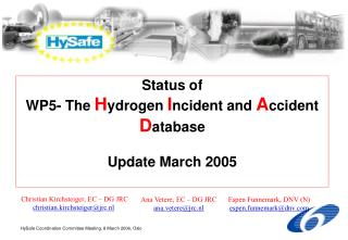Status of  WP5- The  H ydrogen  I ncident and  A ccident  D atabase Update March 2005