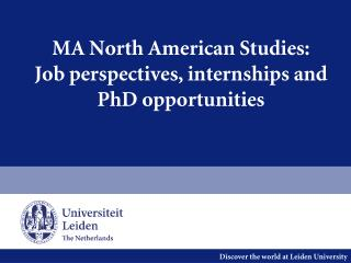 MA North American Studies: Job perspectives, internships and PhD opportunities