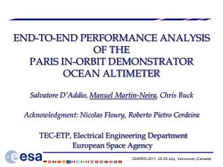 END-TO-END PERFORMANCE ANALYSIS OF THE  PARIS IN-ORBIT DEMONSTRATOR  OCEAN ALTIMETER