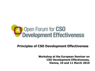 Principles of CSO Development Effectiveness Workshop at the European Seminar on