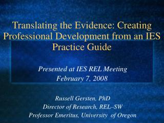 Translating the Evidence: Creating Professional Development from an IES Practice Guide