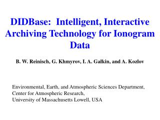 DIDBase:  Intelligent, Interactive Archiving Technology for Ionogram Data