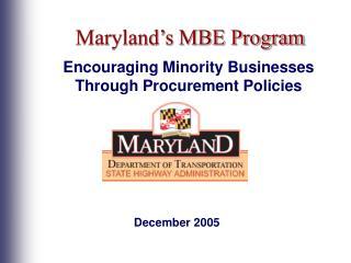 Maryland s MBE Program