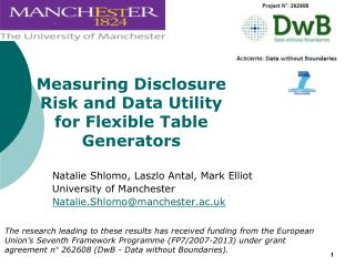 Measuring Disclosure Risk and Data Utility for Flexible Table Generators