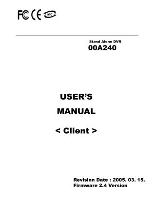 USER'S  MANUAL < Client >