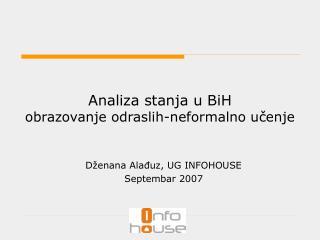 Analiza stanja u BiH obrazovanje odraslih-neformalno učenje