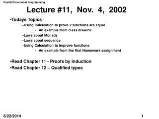 Lecture #11,  Nov.  4,  2002