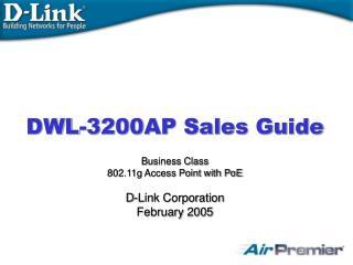 DWL-3200AP Sales Guide