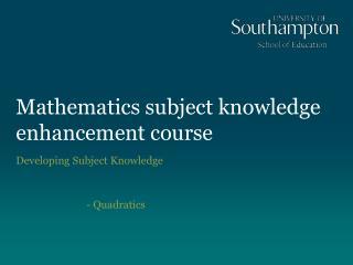 Mathematics subject knowledge enhancement course