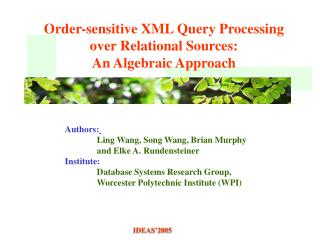Order-sensitive XML Query Processing  over Relational Sources:  An Algebraic Approach
