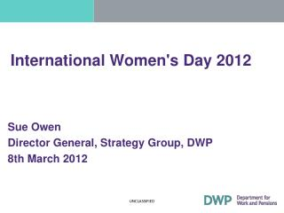When will 33% be 51%?  Women in The Senior Civil Service Senior Women's Network
