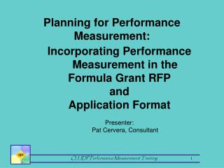 Planning for Performance Measurement: