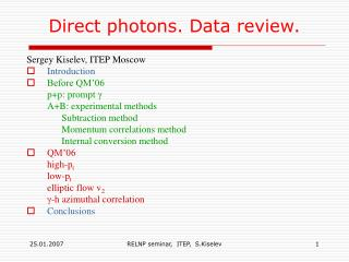 Direct photons. Data review.