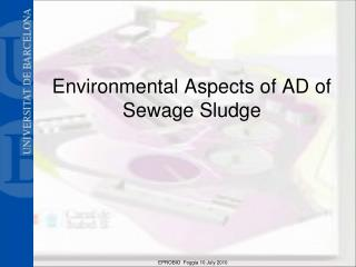 Environmental Aspects of AD of Sewage Sludge