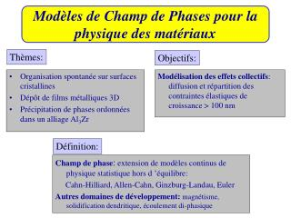 Modèles de Champ de Phases pour la physique des matériaux