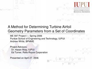 A Method for Determining Turbine Airfoil Geometry Parameters from a Set of Coordinates