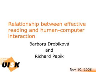 Relationship between effective reading and human-computer interaction