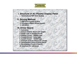 I. Structure of AC Plasma Display Panel         Schematic of PDP Drive System