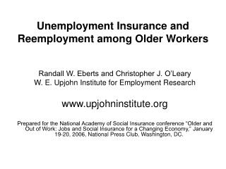 Unemployment Insurance and Reemployment among Older Workers