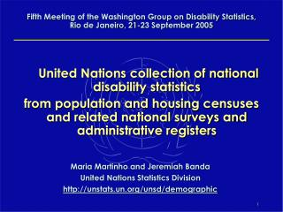 United Nations collection of national disability statistics